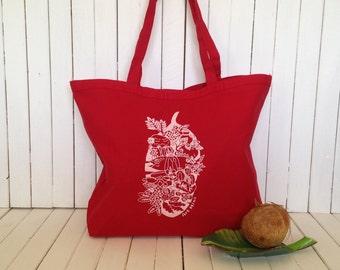Screen Printed Heavy Canvas Tote bag - Jumbo Red Tote - Market Tote Bag - Eco Friendly Reusable Grocery bag - Hawaii Illustration Luau