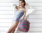 Brown leather pink blue sisal straw striped African woven market beach tote bag