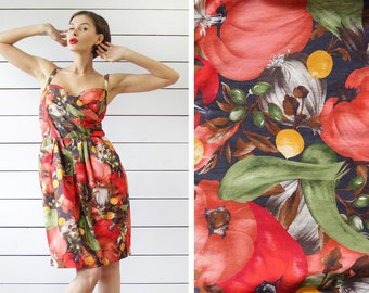 French vintage bright red green yellow veggie print cotton full hip tulip skirt wrap fitted bodice knee midi dress L