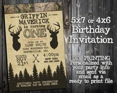 The Little Hunter Collection - Customized Birthday Invitation Printable - Camo, Hunting, Camp Out Themed Party Invitation - Deer Elk Arrows