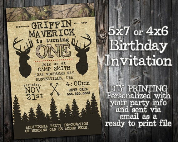 The little hunter collection customized birthday invitation il570xn stopboris Gallery