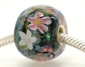 "Big Lampwork glass bead European Charm Focal bead ""Blooming"" Sterling silver core big hole 148 By Shirley"