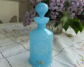 Vintage Swedish bath oil bottle - Turquoise glass - Lindshammar - Gunnar Ander