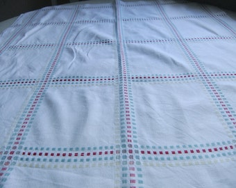 Vintage Swedish vowen 1950s coffee tablecloth with squares
