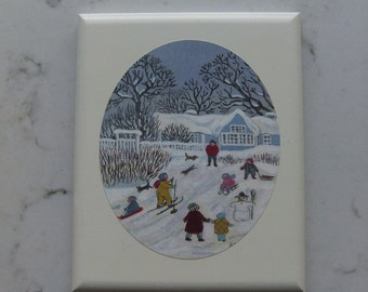 Vintage white painted picture with oval motif - whinter games - Asta Pulkkinen Hollola Finland