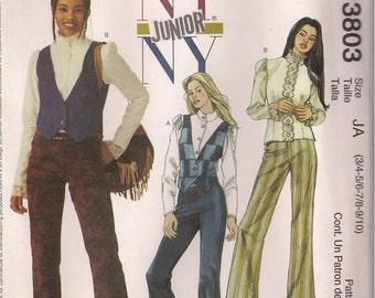 McCall's Sewing Pattern 3803 - Junior's Lined Vest, Blouse and Pants (3-10, 11-18)