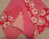 Flannel Baby Blanket with Flannel/Minky Lovie Mini Blankie Set - Red and Pink Fowers