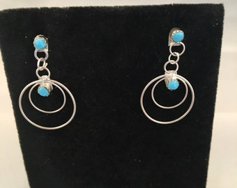 Zuni Sterling Silver with Turquoise Post Earrings