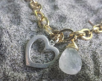 Sterling Silver and gold chain necklace- Heart of Citrine