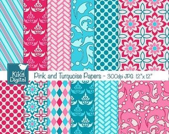 70% SALE Pink and Turquoise Digital Papers - Scrapbooking, card design, invitations, background, paper crafts, web design - INSTANT DOWNLOAD
