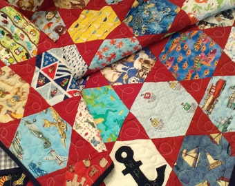 Custom I Spy quilt for baby or toddler: handmade in your color choice