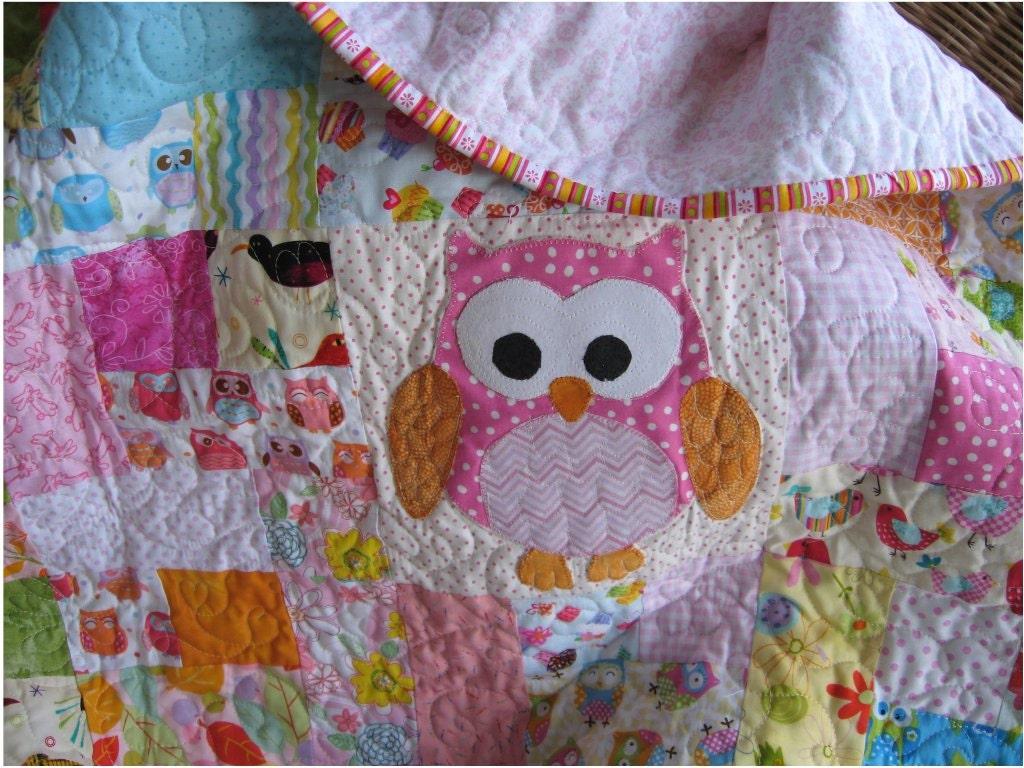 Custom owl baby quilt handmade girls owl crib bedding : custom baby quilts - Adamdwight.com