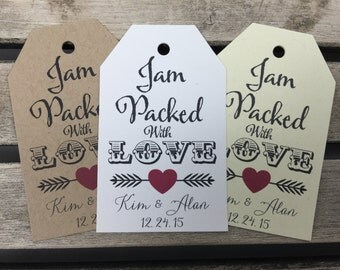 Wedding Gift Tags - Jam Packed With Love - Wedding Favor Tags - Customizable Personalized (WT1681)