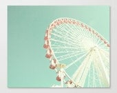 Ferris wheel canvas, nursery decor, nursery wall art, mint nursery art, ferris wheel art, carnival art, carnival photography, canvas art