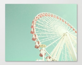Ferris wheel canvas, nursery decor, nursery wall art, mint nursery art, ferris wheel art, carnival art, carnival photography, canvas art