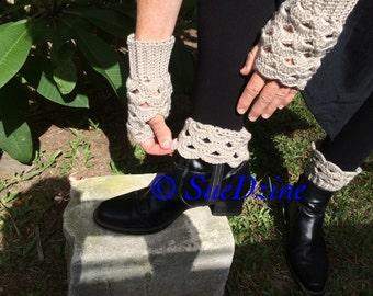 Fingerless gloves, boot cuff sets