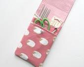 Knitting Needle Storage Case, Crochet Hooks, Notions Pouch - needles organizer - Sheep on Pink