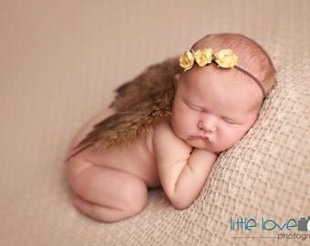 BROWN NEWBORN Feather Wings, Newborn Wings with Headband, Brown Wing Set, Newborn Photo Prop, Newborn baby wings, angel wings, baby wings