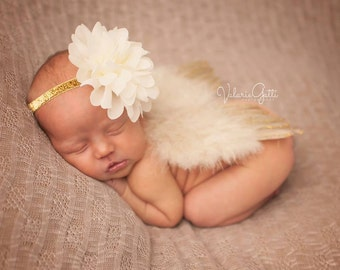 GOLD NEWBORN Feather Wings, Newborn Wings with Headband, Ivory and Gold, Newborn Photo Prop, Newborn baby wings, angel wings, baby wings
