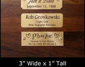 "Engraved Solid Brass Plate Picture Frame Art Label Name Tag 3"" x 1"" with Adhesive on Back or Holes with Screws"