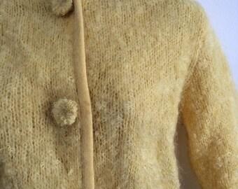 Vintage yellow boucle cardigan sweater size medium