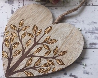 Rustic Wooden Hanging Heart with Leaf Design and Henna Mehndi Vines
