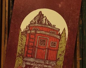 Woodcut Art Print - Train