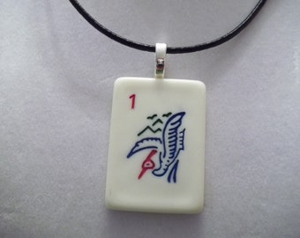 Mahjong 1 Bam Bird handcrafted Game Piece Pendant Necklace on voile or leather necklace