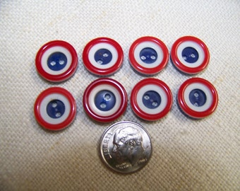 """Set of 8 Vintage 3 Color Buttons Red White & Blue 5/8"""""""