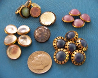 Lot of 22 Small Vintage Metal & Plastic Shank Buttons
