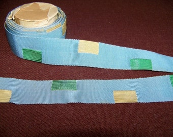 Antique French Grosgrain Ribbon Blue Green & Yellow 4 Yds