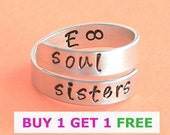 Soul sisters,initials ring,personalized rings,bff,best friends rings.59