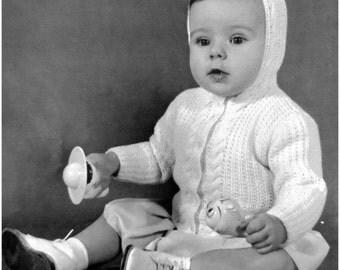 Baby Sweater Knitting Pattern, HOODED SWEATER, Baby Knit Pattern, Baby Cardigan Knit, Baby Jacket Pattern