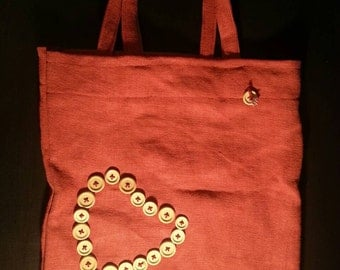 Wooden heart tote