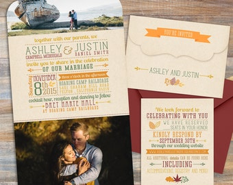 Fall Tri-fold Wedding Invitation - Boutique Tri Folded Design - Photo Wedding Invites - Fall Wedding - Autumn Wedding - Custom Typography