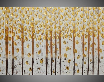 "Birch Tree Painting Gold Abstract Acrylic Painting on Canvas Forest Landscape Textured Brown 3D Art Deco 56"" x 28"" Ready to Hang by ilonka"