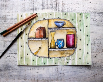 Original watercolor painting tea cup painting 8x12' green yellow white black kitchen cups mugs cupboard kitchen decor watercolor nursery art