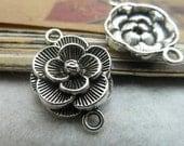 10 pcs  antique silver  plating   flower  connector  pendant finding