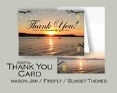 Mason Jar / Firefly / Sunset Thank You Card