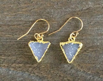Triangle 24K gold plated pale gray lavender druzy earrings