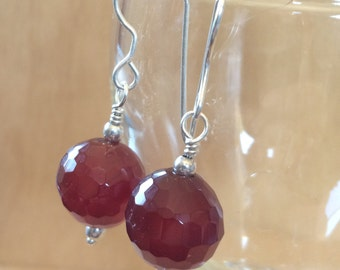 Faceted Carnelian Earrings on Sterling Silver All Handmade