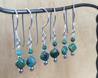 Dainty Turquoise and Silver Earrings on Sterling Silver All Handmade