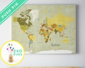 Custom Large World Map Vintage CANVAS - Countries, Capitals, USA and CANADA States - Personalized Gift Idea Pin It Map, 240 Pins