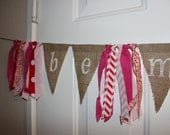 SALE Be Mine Valentine's Day Burlap Banner and Fabric Garland Rag Tie Banner Party Decoration, Photo Prop Backdrop
