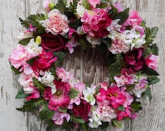 Spring Summer Wreath, Pink Wreath, Hydrangea Rose Wreath, Country Cottage Wreath, Garden Wreath, Victorian Wreath, Floral Wreath