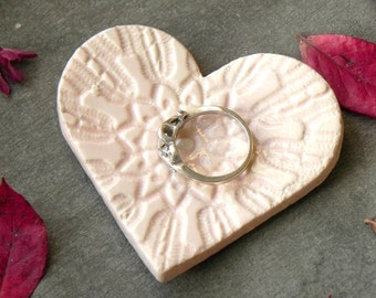 Valentine's Day Tiny Pink Heart Ring Holder Wedding Gift Vintage Lace Pattern Ceramic Plate