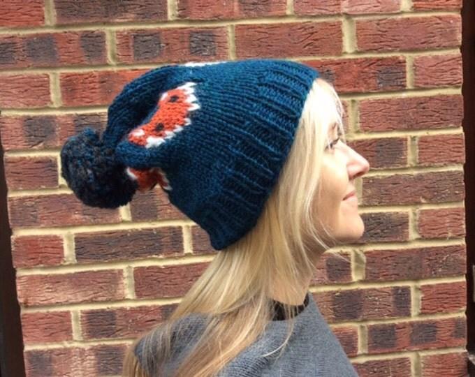 Featured listing image: Fox Beanie.Warm Winter Knit Pom Pom Hat. Handknit Mr Fox Cap . Soft Wool Hat Fox . Pom Pom Fox  Beanie . Gift for Animal Lover.TRENDING NOW.