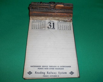 One (1), 1958 Reading Railway System, Advertising Desk Top Calendar.