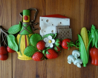 Vintage Wall Plaques, 1970's, Homco Plaques, Home Decor, Plastic, Wall Decor, Vegetables, Fruit, 3D, Kitchen Decor, Yellow, Red, Green