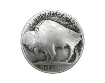 6 Tiny Buffalo Nickel 7/16 inch ( 11 mm ) Antique Silver Metal Buttons